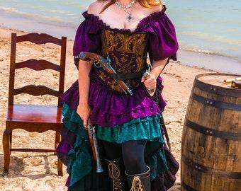Purple Shimmer Fancy Saloon Girl Skirt , Steampunk, Pirate, Renaissance, Medieval, Victorian, Western, Wild West World, Ren Fest