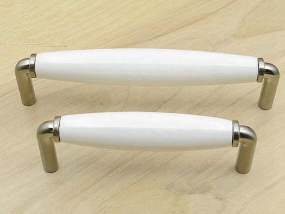 96 128 mm Weiß Nickel Möbel Griff Griffe Möbelgriffe Türgriffe