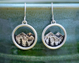 Mountain Range Dangle Earrings - Sterling Silver - Mountain and Trees Landscape - Artisan Metalwork Nature Earrings - Gift for Nature Lovers