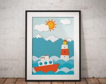 Lighthouse, Nursery Decor, Nursery Poster, Nautical Decor, Decor Print,Lighthouse Printable, Nautical Printable, #LighthouseCollection Nº1