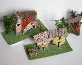 3 pieces-vintage cardboard houses for crib or Santa Claus Village