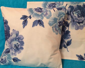 Pair of Handmade Cushion Cover in Cath Kidston Blue Peony Blossom 16 x 16 inch