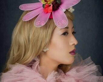 FlowerHead Pink Flower Fascinator Pink Flower Hat