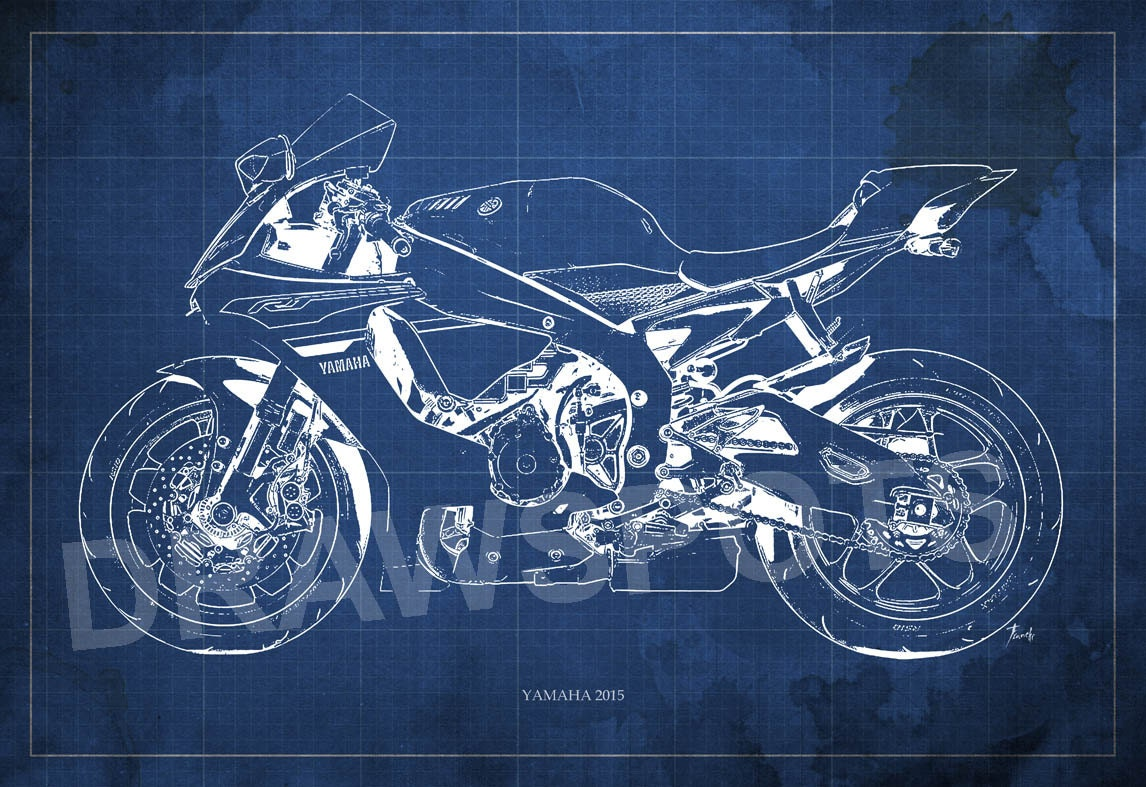 Yamaha 2015 blueprint art print 8x12in and larger sizes zoom malvernweather Images