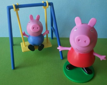 Peppa Pig cake decorating topper, perfect for birthday party or centerpieces, Peppa and George on a swing ADORABLE Nick Jr. Nickelodeon