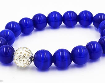 Navy blue with Silver Design Bracelet