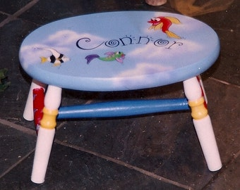 oval fish step stool, hand painted step stool, kids step stool, personalized step stool