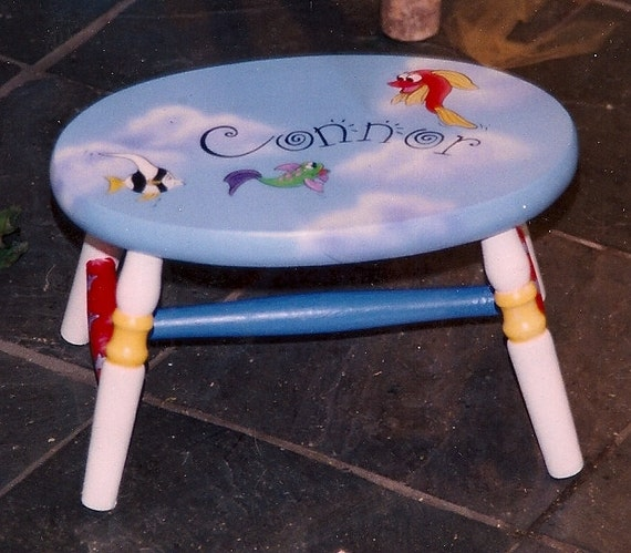 Oval Fish Step Stool Hand Painted Step Stool Kids Step