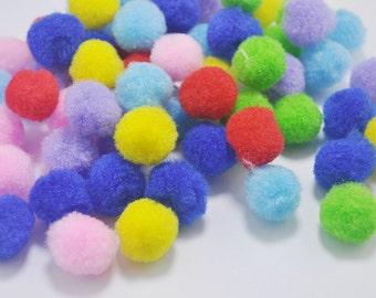 50pcs Pom Poms, Mixed color Pompoms, 20mm, Craft Supply Kit,Pompom Balls, Pom Pom Balls, Fiber Balls, Fiber Pompoms,toy eye accessories