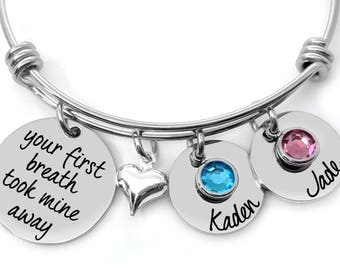 Personalized Jewelry - Your first breath took mine away - Birthstone Jewelry - Custom Bracelet - Engraved Jewelry - Gift For Women - New Mom