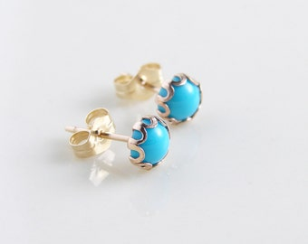 Turquoise Earrings ~ Small Sleeping Beauty Turquoise Stud ~ 14K Gold Filled ~ Natural Turquoise Stone ~ December Birthday ~ Bridesnaid Gift