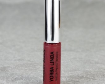 Matte Liquid lipstick : YORBA LINDA. Dark red brown lipstick. Vegan matte liquid lipstick. Cruelty Free. Nicolet Beauty.