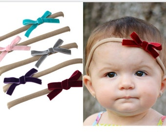 """SET of (5)  3"""" Velvet Bows, Small hair bows nylon headbands, pack of girls hairbows, maroon, turquoise, gray, pink, purple"""
