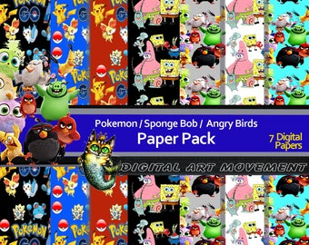 Digital Scrapbook,Angry Birds, Pokemon Digital Gaming Pack,Pokemon Arcade Gift Wrap, Spongebob, Angry Birds Wallpaper,Variety Cartoon Papers
