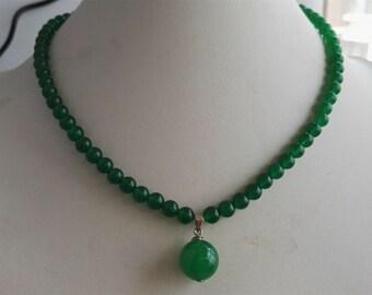 jade necklace- green jade necklace, jade necklace pendant, 6mm green jade necklace