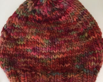 Merino Wool Beanie / Red Colorful Winter Hat