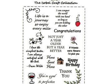 A6 set of photo-polymer clear stamps - GREETINGS