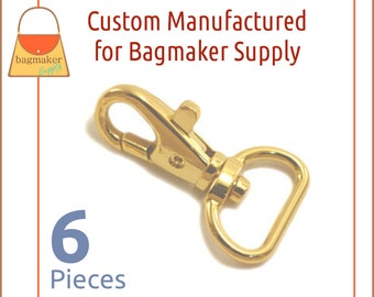 """3/4 Inch Trigger Style Snap Hooks Shiny Gold Finish, 6 Piece Package Purse Clips, Handbag Bag Making Hardware Supplies. .75"""", SNP-AA138"""