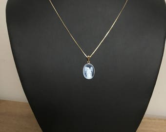 Antique Blue Agate And Gold Angel Cameo Pendant, Necklace