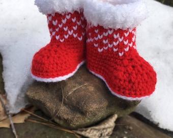 Crochet Pattern Christmas Baby Booties/ Winter Booties Crochet Pattern/ Crochet Pattern Newborn Shoes/ Crochet Pattern Christmas Baby Shoes
