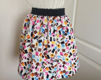 Ladies or girls Liquorice Allsorts skater style skirt