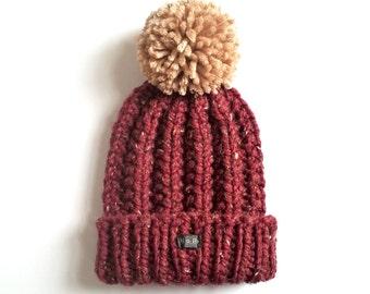 Mens Bobble Hat. Thick chunky bugundy hand knit beanie hat, detachable large pom pom. Handmade Oxblood/dark red tweed wool blend XS/S/M/L/XL