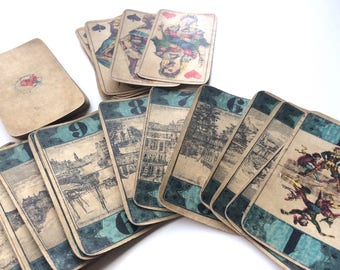 19th Century German Bourgeois Tarot Cards Garbaty Cigarettes Partial Very Rare
