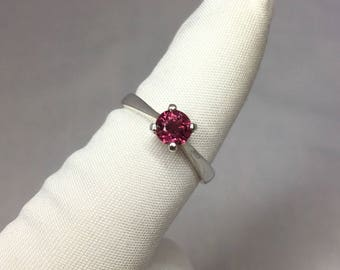 NATURAL Vivid Pink Purple Tourmaline 0.66ct Solitaire Silver Ring 925 Round Cut