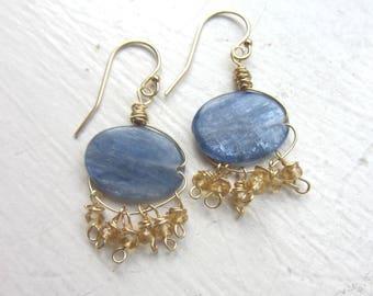 14k Gold Citrine Earrings, Gold Dangle Earrings, Boho, Kyanite Blue Gemstone Beads with Citrine, Scorpio Gemstone, November Birthday