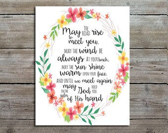 Irish Blessing Print - Sign - Quote - Print - Typography Print - Calligraphy