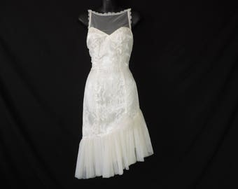 80s prom ivory lace dress victorian revival sheer bodice asymmetrical ruffle hem small