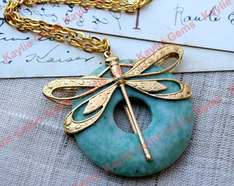 2 Sided Filigree Dragonfly Adroned QingHai Jade Donut Chain Necklace Raw Brass with Gold Chain