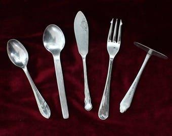 Mismatched Set of 5 Vintage English Silver plated and stainless steel serving utensils, vintage flatware / vintage silverware