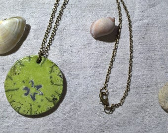 handmade Bohemian hippie chic necklace with raku ceramic lime green