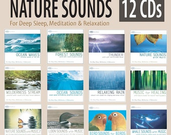 Nature Sounds 12 CD Set: Ocean Waves, Forest, Thunder Sounds, Rain, Wilderness Stream, Loon & Whale Sounds plus more (Sounds of Nature)