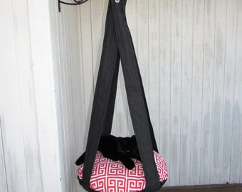 Outdoor Cat Bed Black Sparkle & Red Greek Key, Single Kitty Cloud Cat Bed, Hanging Cat Bed, Pet Furniture, Cat Tree, Indoor Outdoor Cat Bed