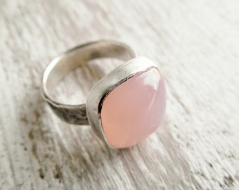 Large Chalcedony Ring - Pink - Chalcedony Ring - Sterling Silver Statement jewelry for women