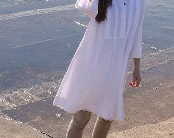 White linen dress, linen tunic dress, linen dresses for women,  loose linen dress for women, linen summer dress, oversized dress