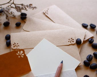 100 Paper Envelopes Kraft Brown Handmade C7 size Small. Blank Cards. Thank you Cards. Gift Card Envelopes