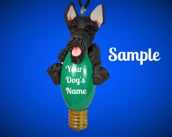black Scottish Terrier Scotty Scottie dog Christmas Holidays Light Bulb Ornament OOAK Sally's Bits of Clay PERSONALIZED FREE with dog's name