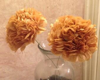 Beige Tissue Flowers - Fiesta Flowers - Paper Flowers -