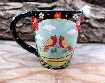 Reserved for Helen - English Robin Cup, Floral Teacup