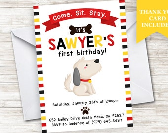 Dog Birthday Invitation Invite 5x7 Digital Personalized Birthday First Any Age Pets Animals