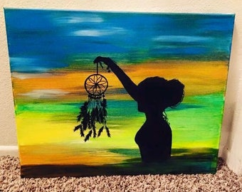 Native woman / dream catcher painting/ original artwork / one of a kind