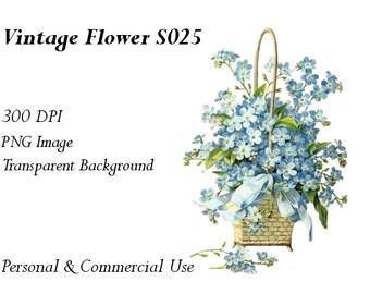 Vintage Flower Clip Art Transparent Png File  S025
