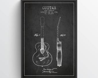 1941 Guitar Patent Poster, Guitar Poster, Vintage Guitar, Wall Art, Home Decor, Gift Idea, MUIN06P