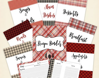 """Printable Recipe Binder Kit, 8.5""""x11"""" pages in Red Plaid"""