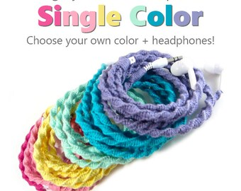 Design Your Own Solid Color Wrapped Tangle Free Earphones | Pick Your Own Custom Colors & Headphones | Tangle Free Android, iPhone 8 Earpods