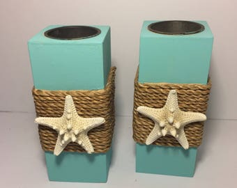 Starfish Decor Aqua Green Beach Themed Candle Holders Beach Wedding
