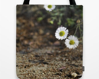 White Daisies Photo Tote Bag, Floral Fireworks 2 Nature Photograph